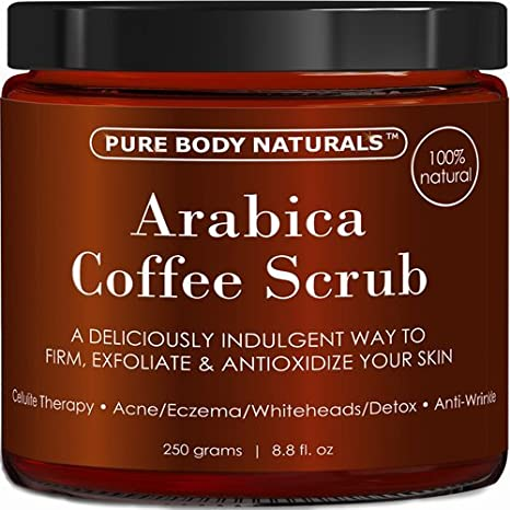 Arabica Coffee Body Scrub Exfoliator with Coconut and Shea Butter for Cellulite and Stretch Marks, Coffee Scrub for Eczema, Stretch-marks, and Cellulite by Pure Body Naturals, 8.8 Ounce Arabica Coffee Scrub