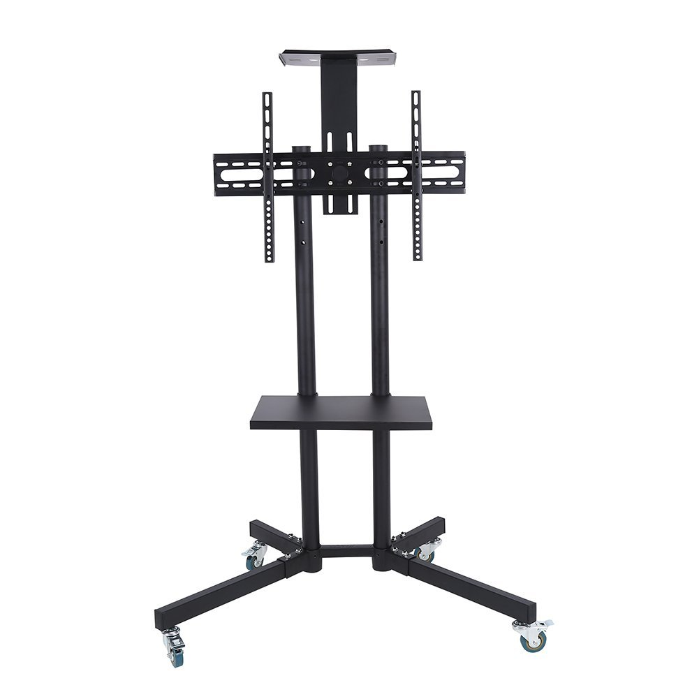 TV Cart, Black Mobile TV Cart Shelf Adjustable Standing Mount Home Display Trolley for LCD/LED Flat Panel Screen Trolley Floor Stand with wheels Fits 32-65Inch