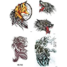NutritionBizz 4 Sheets Temporary Tattoos for Men Women Teen Fake Tattoo Biker Tattoo Waterproof Stickers for Arms Shoulders Chest & Back, Black