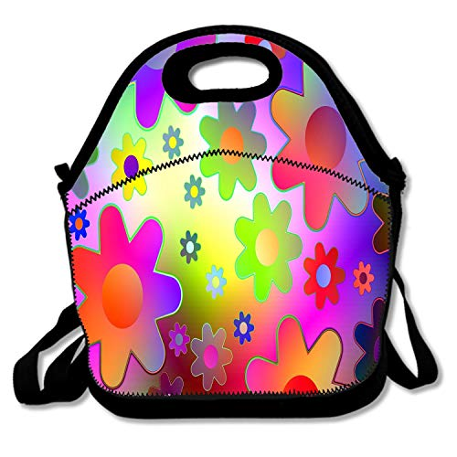 Bjiansoah Power Flowers Ornament Boys Girls Kids Insulated School Travel Outdoor Thermal Waterproof Carrying Lunch Tote Bag Cooler Box Neoprene Lunchbox Container Case