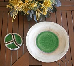 Ashtray Round Green Ceramic & Glass Handmade, Diameter 13cm-5.1\
