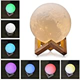 About2shop 7 Color Changing Mode Glowing 3D Print Lighting Night Light LED Ball Moon Lamp Touch Control Brightness with USB Recharge Charging for Home Decor (3.2 inches (8 cm))