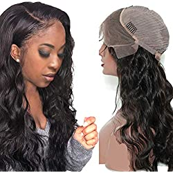 150% Density Body Wave Lace Frontal Wigs with Baby Hair Pre Plucked 100% Virgin Hair Body Wavy Human Hair 13x4 Inch Body Wave Free Part Lace Front Wigs Bleached Knots wirh Natural Hairline Glueless