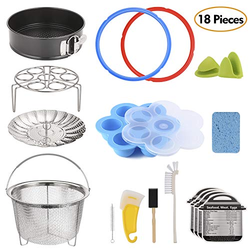 18-Piece Pressure Cooker Accessories Set for Instant Pot 6 Qt, Steamer Basket, Nonstick Springform Pan, Egg Steam Rack, Egg Bites Mold, Mini Mitt, Sealing Rings, Magnetic Cheat Sheets, Cleaning Set