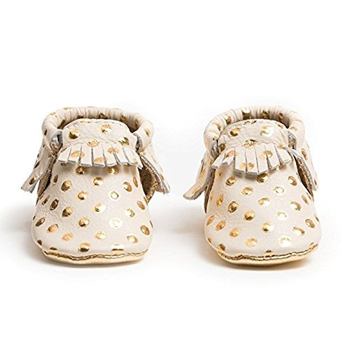 Freshly Picked Soft Sole Leather Baby Moccasins - Heirloom in Cream and Gold - Size 3