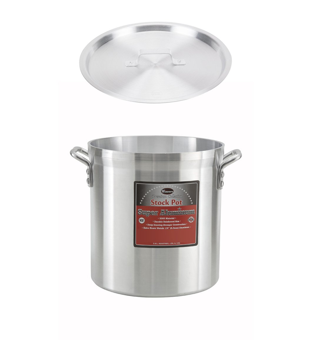 Winco AXHH-16, 16-Quart 10'' x 12'' Super Extra-Heavy 3003 Aluminum Professional Stock Pot with Cover, Commercial Grade Sauce Pot with Lid