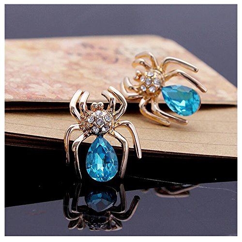 [Luck Wang Women's Unique Fashion Small Crystal Spider Diamond Stud Earrings(Gold Bule)] (Coast Guard Costumes For Kids)