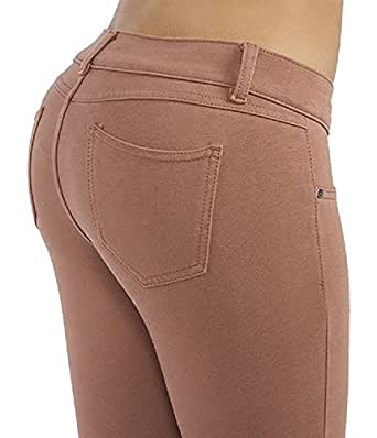 Basic pants skinny leg French Terry Jeggings style Moleton, With a gentle butt lifting stitching in Cognac Size XS