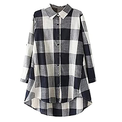 5Dreams Women's High_Low Style Roll-Up Sleeve Tartan Plaid T Shirt