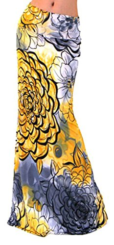 Novias Women Multicolored Print High Waisted Beach Maxi Skirts Long Skirt Christmas Gift(Yellow ()