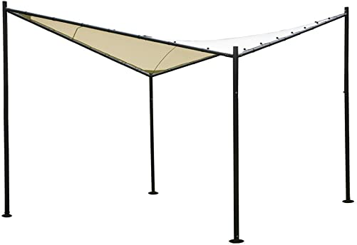Abba Patio Steel Polyester Fabric Square Butterfly Gazebo, 12 x 12 ft, Beige