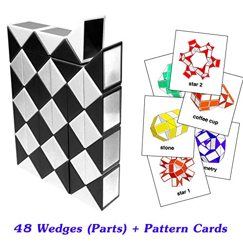 New Creative Toys Rubik Snake Twist Puzzle 48 Parts Wedges Black and White Color with Pattern Cards Standard Size 1.3 inch for Each - New Black Snake