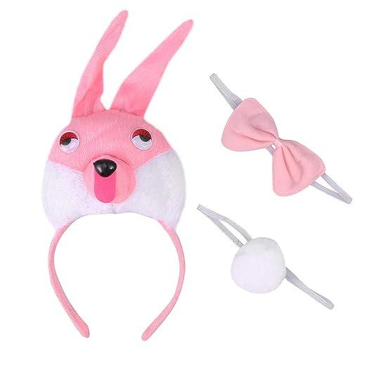 Amosfun - Disfraz de Conejo con Orejas y Lazo, 3 Unidades, para ...