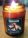 FIREWOOD - Authentic Wood Burning Natural Wax Fireplace Candle in Amber Jar with Black Lid 9 oz Simply like no others.Best Seller Since 2012 Improved May 2018
