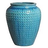 Waffle Ceramic Planter - Turquoise Blue