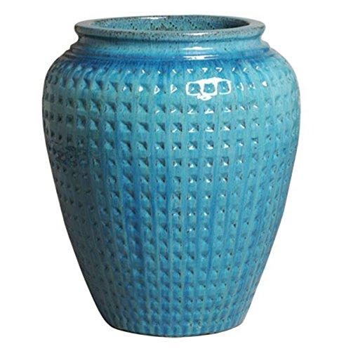 Waffle Ceramic Planter - Turquoise Blue by Emissary
