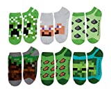 Minecraft Creeper Little Boys No Show Socks 6 Pairs (Shoe Size 10-4) (1)