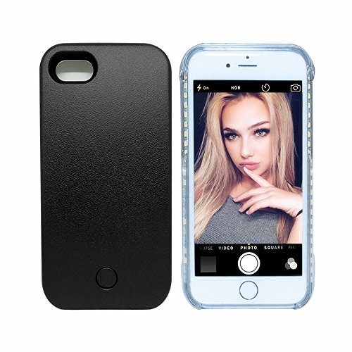 Cutelook iPhone 7 I, Illuminated Case, New LED Light Up Luminous (Dimmable) Cell Phone Case by Readgo,Great for Selfies Facetime Rechargeable Flashlight (Black)