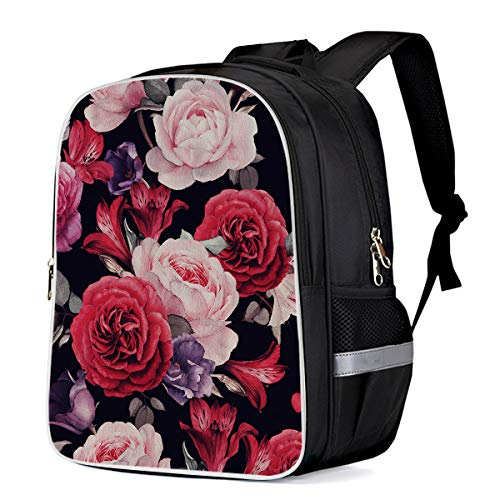 Lightweight Backpack for Students- Vintage Enchanting Red Rose, Unisex Casual Daypack Elementary School Bags Printing Travel Laptop Bag