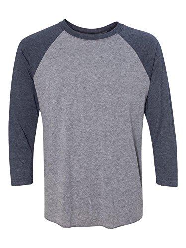 3 4 Sleeve Shirts - Next Level Apparel 6051 Unisex Tri-Blend 3 By 4 Sleeve Raglan - Vintage Navy & Premium Heather, 2XL