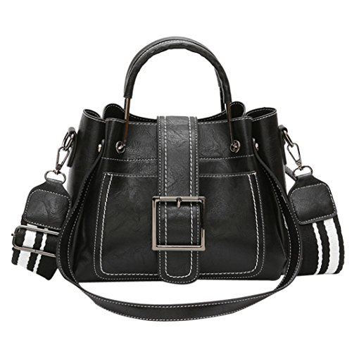 - Womens Handbags, FDelinK PU Leather Shoulder Bags Saddle Bags Crossbody Bags Women Bags (Black)