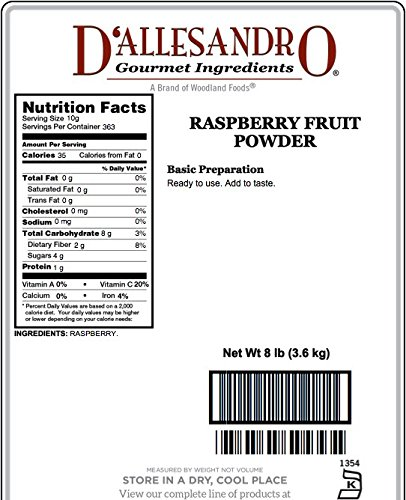 Fruit Powder, Raspberry - 8 Lb Bag / Box Each by D'allesandro (Image #1)