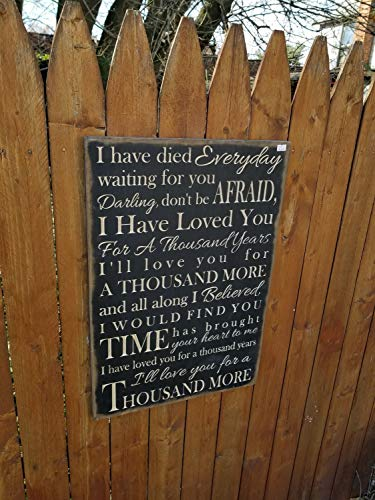 I Have Died Everyday Waiting for You I Have Loved You for a Thousand Years Song Lyrics 16x24 Black (I Have Lives A Thousand Years)