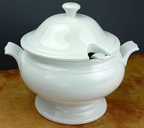 Omniware White Porcelain Covered Soup Tureen with Ladle, 2.5 Quart by Omniware