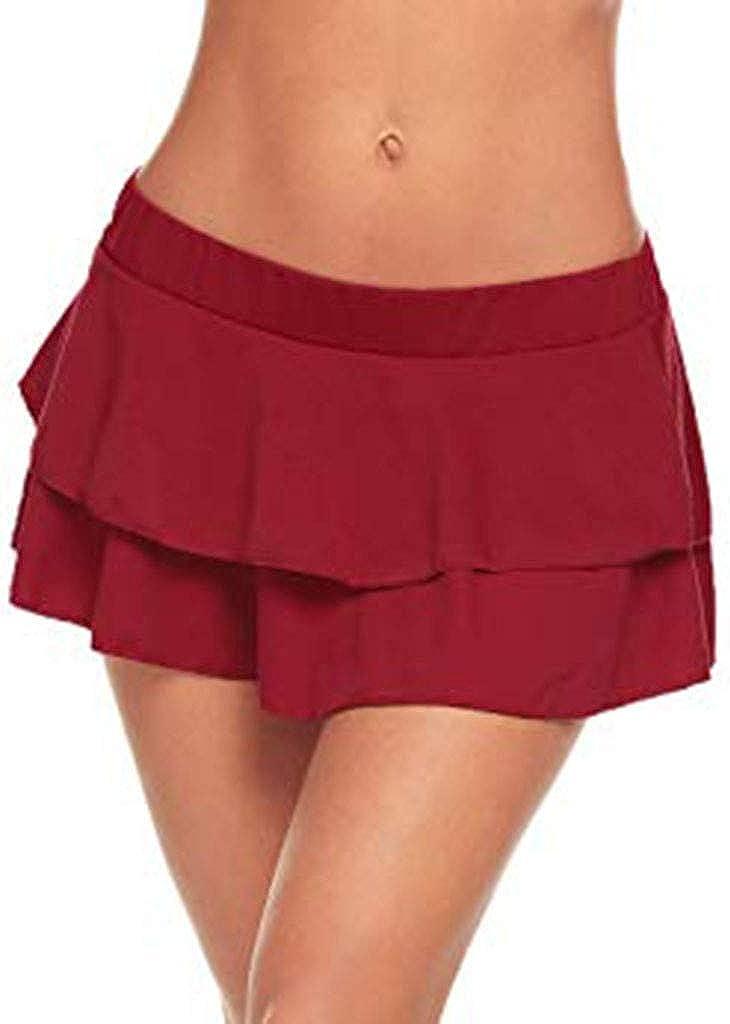 Lenfesh Mini Falda Club Sexy Cintura Alta Plisada Mujer Falda Acampanada con Pliegues Falda Corto de Fiesta Noche para Mujer