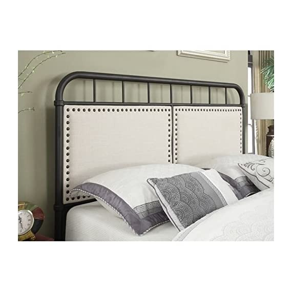 """Pulaski DS-2642-290 Queen Upholstered Panel All-in-One Metal Bed in White, 64.56"""" W x 86.22"""" L x 53.54"""" H - Classic shaped headboard and footboard features unique mix of materials for a modern Take on a Classic silhouette Two upholstered panels frames in Antique brass nail head trim contrast the metal frame Stylish, linen-like fabric in a neutral beige is durable and easy to clean - bedroom-furniture, bedroom, bed-frames - 51PecueLhVL. SS570  -"""