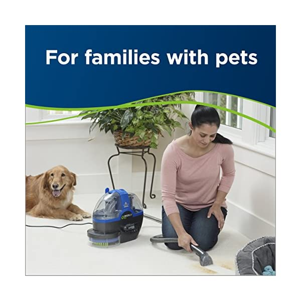 Photo of pet owner and dog shampooing carpet.
