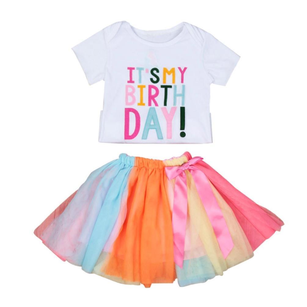 Voberry Summer 2Pcs Kids Baby Girls Birthday Embroidery T-Shirt +Rainbow Tutu Skirt Outfits Set (4T, White)