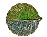 Continental Art Center Leaf Shaped Glass Plate, 18 by 20 by 3-Inch