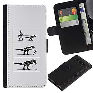 // PHONE CASE GIFT // Moda Estuche Funda de Cuero Billetera Tarjeta de crédito dinero bolsa Cubierta de proteccion Caso Samsung Galaxy S3 III I9300 / FUNNY - DINOSAUR COMIC /