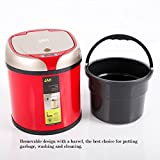 Kitchen 6 L Touch-free Smart Automatic Sensor Trash Can Round Stainless Steel