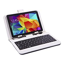 """HDE Diamond Stitch Univeral Hard Leather Folding Folio Case Cover with Micro USB Keyboard for 7"""" Tablet (White)"""