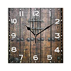 Naanle 3D Rural Wooden Gate Print Square Wall Clock Decorative, 8 Inch Battery Operated Quartz Analog Quiet Desk Clock for Home,Office,School