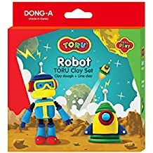 TORU New Clay Play Dough Set - Favorite Characters Molding Play-Dough Kit for Kids with Instruction Card - Robot