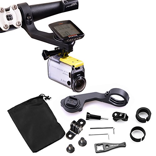 Cycling Out Front Bracket Mount by HOLACA, 25.4/31.8mm Sports Bicycle Handlebar Computer Holder Set for CatEye GPS With GoPro/SJ Cam/Sony/Garmin (12-in-1 Cateye Bracket Pack for Sports Cameras)