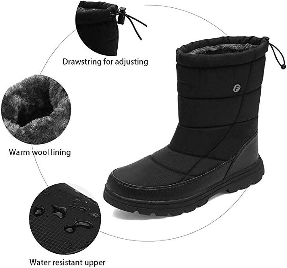 SILENTCARE Mens Winter Mid-Calf Snow Boot Fur Warm Waterproof Slip On Outdoor Athletic