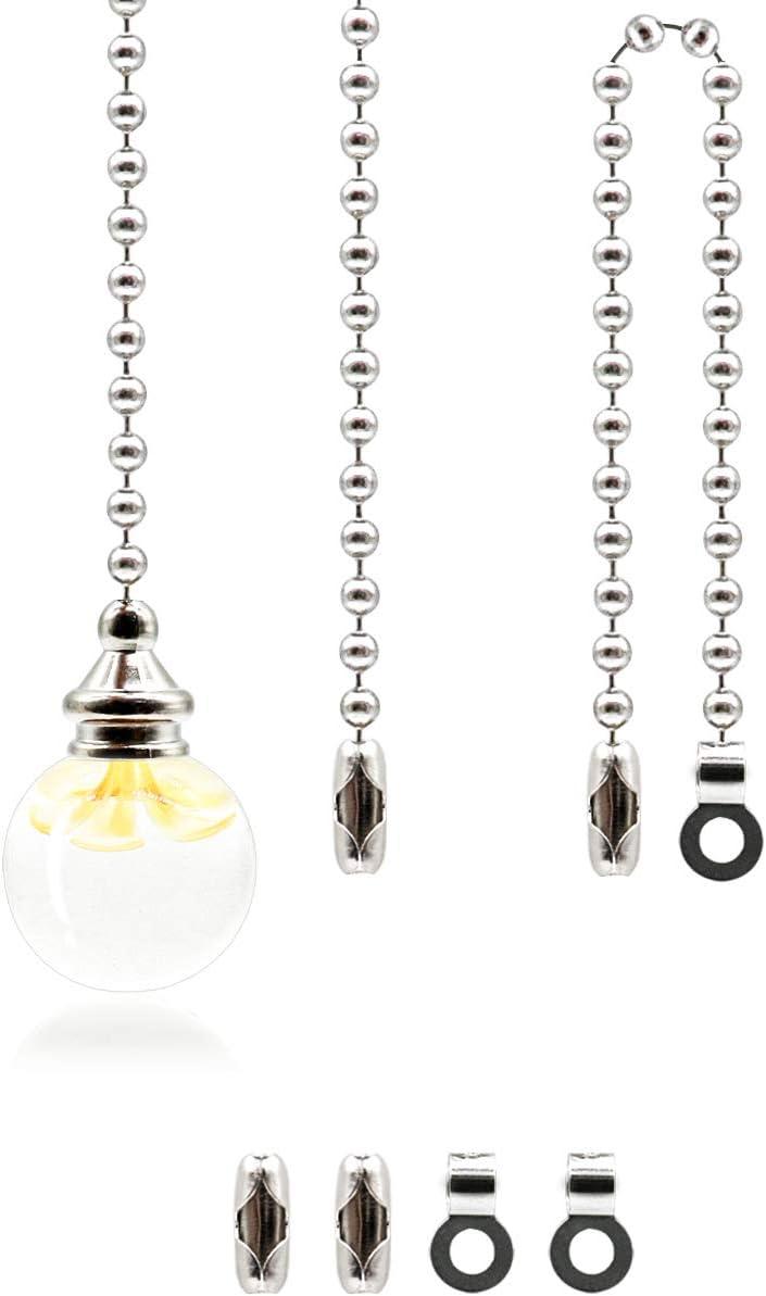 2 Juegos de Cadena de Tirador de Cristal Transparente Extensión de Cadena con Conector para Cadena de Luces Ventilador de Techo, 1 Metro de Largo Cada
