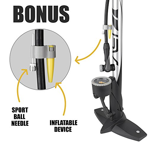 BV Bicycle Ergonomic Bike Floor Pump with Gauge & Smart Valve Head, 160 psi, Automatically Reversible Presta and Schrader by BV (Image #5)