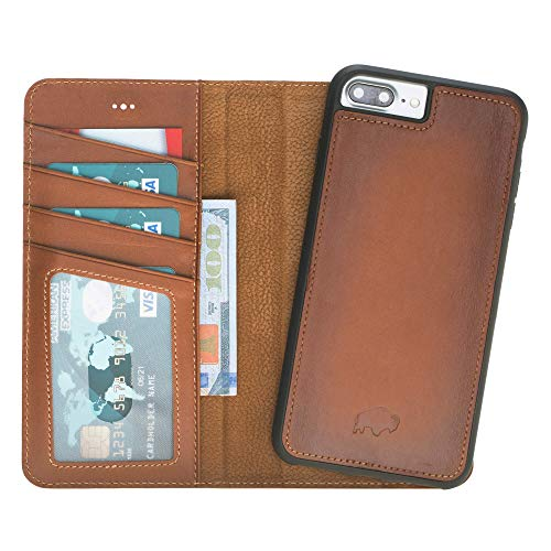 Burkley Case Detachable Leather Wallet Case for Apple iPhone 8+ Plus / 7+ Plus with Magnetic Closure and Snap-on | Book Style Cover with Card Holders and Kickstand in a Gift Box | Burnished
