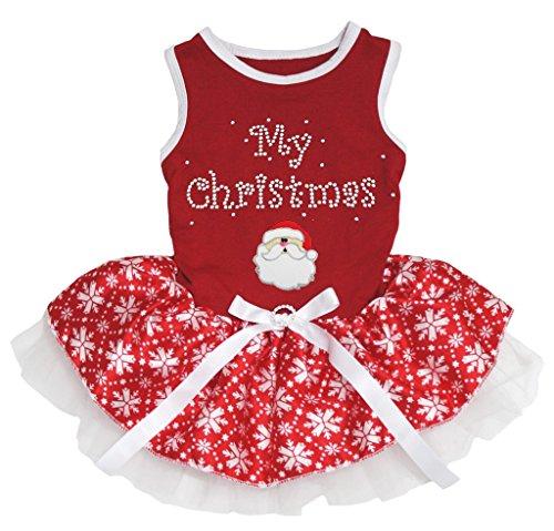 Petitebella My Christmas Santa Claus Red Cotton Shirt Tutu Puppy Dog Dress (Red Snowflakes Tutu, Large)