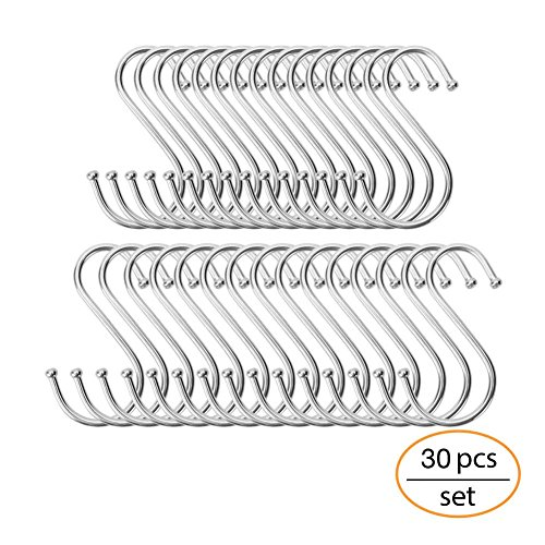 Smart S Hook | 30pcs Heavy Duty S Shaped Hooks Extended Wall Mount Tool Holder | Multiuse Rustproof Polished Iron S Hanging Hooks for Pot Pan Home Kitchen Garage Storage Organizer | Silver | 1409.3