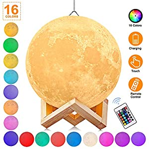 AGM 3D Moon Lamp, Remote & Touch Control Adjust Brightness Hanging Moon Light with Stand, 16 Colors Led 3D Print Moon Night Light with USB Charging for Kids Gift Birthday Women(5.9IN)