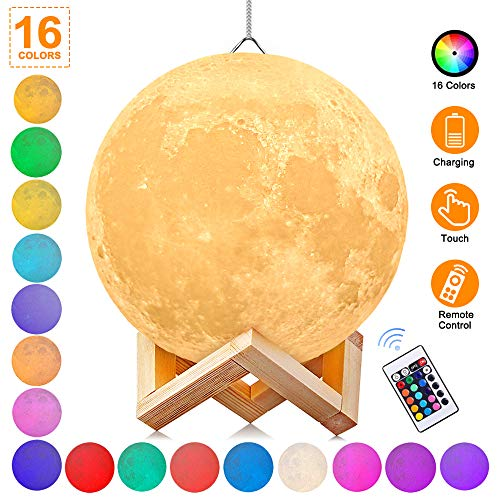 AGM Moon Lamp with Stand, 5.9 Inch 16 Colors Hanging 3D Print Moon Night Light with USB Charging for Kids Gift Birthday Women
