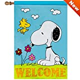 Jetmax Peanuts Spring Welcome Flag Embroidered Applique House-Sized- 28″ x 40″ 40011