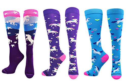 MadSportsStuff Peace Love Unicorn Lover Socks Over The Calf (3 Pack-Multi, Small) ()