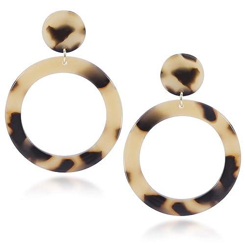 Shownii Acrylic Resin Drop Hoops Earrings for Women Fashion Boho Statement Dangles Stud Earrings …